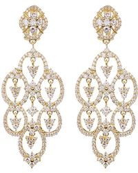 Judith Ripka - Gold Plated Sterling Silver Cz Clip Earrings - Lyst