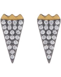 Freida Rothman - 14k Gold & Rhodium Vermeil Cz Pave Stud Earrings - Lyst