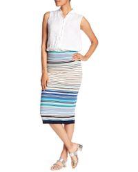 Max Studio - Striped Midi Pencil Skirt - Lyst