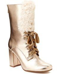 Nanette Nanette Lepore   Freya Faux Fur Lace-up Boot   Lyst