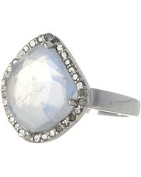 Adornia - Moonstone & Diamond Rose Cut Halo Ring - Lyst
