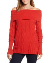 Chaus - Off The Shoulder Chevron Cotton Sweater - Lyst