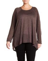 Caslon - Solid Long Sleeve Hi-lo Hem Shirt (plus Size) - Lyst