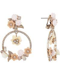 Marchesa - Large Orbital Crystal Floral Drop Earrings - Lyst