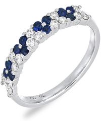 Bony Levy - 18k White Gold Sapphire & Diamond Flower Ring - 0.25 Ctw - Lyst