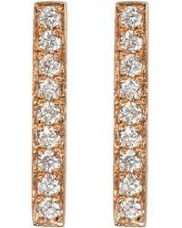 Bony Levy - 18k Rose Gold Pave Diamond Bar Earrings - 0.22 Ctw - Lyst
