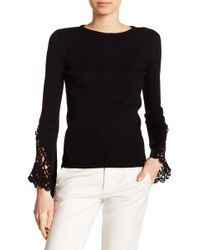 Catherine Malandrino - Crochet Knit Long Sleeve Pullover - Lyst