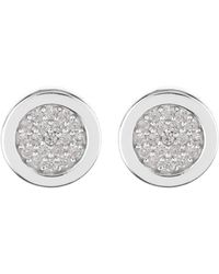 Argento Vivo - Sterling Silver Cz Pave Round Stud Earrings - Lyst