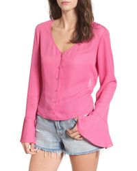 Mimi Chica - Tie Back Bell Sleeve Top - Lyst