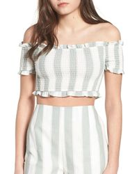 The Fifth Label - Poetic Stripe Off The Shoulder Crop Top - Lyst