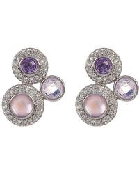 Judith Jack - Sterling Silver Purple Crystal & Halo Set Clear Crystal Cluster Earrings - Lyst