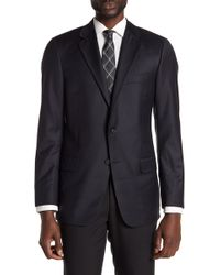 Hickey Freeman - Black Tonal Stripe Two Button Notch Lapel Wool Classic Fit Suit Separates Jacket - Lyst