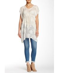4 Love & Liberty - Short Sleeve Burnout Silk Blend Tunic - Lyst