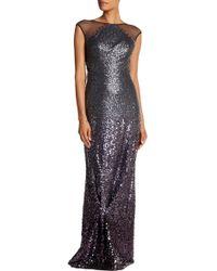 Ignite - Beaded Sheer Yoke Sequin Dress - Lyst
