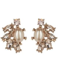 Marchesa - Simulated Pearl & Crystal Cluster Button Earrings - Lyst