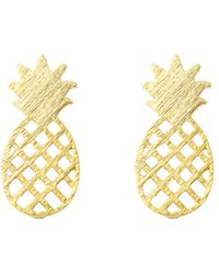 Moon & Lola - Brushed Cutout Pineapple Stud Earrings - Lyst