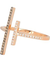 Ron Hami - 14k Rose Gold Pave Diamond Double Bar Ring - 0.19 Ctw - Lyst