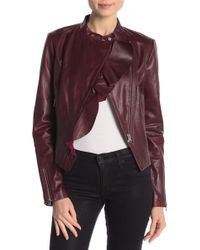 Lamarque - Ruffle Front Leather Jacket - Lyst