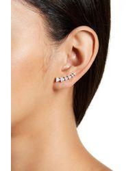 Adornia - Sterling Silver Swarovski Crystal Accented Arrow Ear Climber Earrings - Lyst
