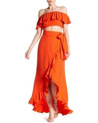 Jay Godfrey Ruffle Crop Top & A-line Wrap Skirt Set - Red