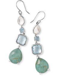 Ippolita - Sterling Silver Bezel & Prong Set Stone Linear Drop Earrings - Lyst
