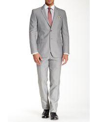 Nicole Miller - Striped Two Button Notch Lapel Slim Fit Suit - Lyst