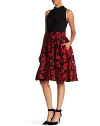 Ignite - Beaded Neck Floral Jacquard Skirt Dress - Lyst