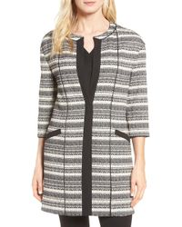 Anne Klein | Long Stripe Tweed Jacket | Lyst
