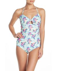 Nicole Miller - Floral Tie Front One-piece Swimsuit - Lyst