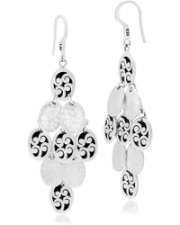 Lois Hill - Sterling Silver Large Oval Hand Carved Scroll & Hammered Disc Dangle Earrings - Lyst
