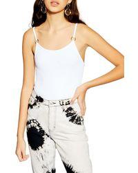 TOPSHOP Ring Strap Detail Textured Bodysuit - White