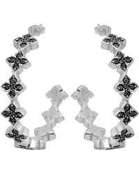 King Baby Studio - Large Pave Black Cz Mb Cross Hoops - Lyst