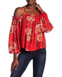 21a25a2b5807d Romeo and Juliet Couture - Floral Cold Shoulder Blouse - Lyst