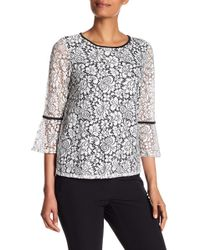 Adrianna Papell - Sheer Bell Sleeve Lace Blouse - Lyst