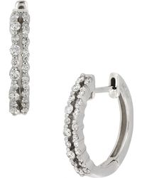 Bony Levy - 18k White Gold Double Row Huggie Earrings - Lyst