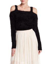 BB Dakota - Fuzzy Knit Cropped Cold Shoulder Sweater - Lyst
