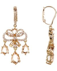 Jenny Packham - Layered Pave Bow Chandelier Drop Earrings - Lyst