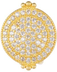 Freida Rothman - 14k Gold Plated Sterling Silver Pave Cz Clip-on Earrings - Lyst