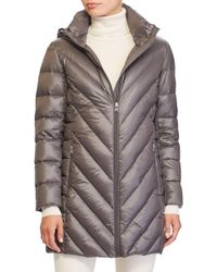 Lauren by Ralph Lauren - Chevron Quilted Down Jacket - Lyst