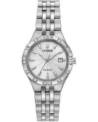 Citizen - Women's Eco-drive Diamond Silver-tone Bracelet Watch, 27mm - 0.0053 Ctw - Lyst