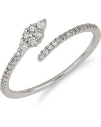 Bony Levy - 18k White Gold Diamond Detail Marquise Accent Coiled Ring - 0.19 Ctw - Lyst