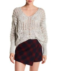 Love By Design - Open Knit V-neck Sweater - Lyst