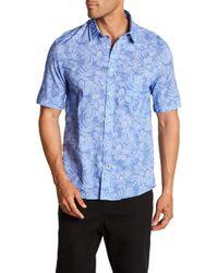 Benson - Hibiscus Print Short Sleeve Modern Fit Shirt - Lyst