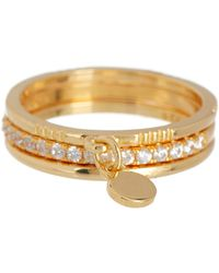 Adornia - 14k Yellow Gold Plated Sterling Silver Swarovski Crystal Charm Ring Set - Lyst