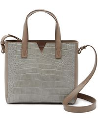 Vince - Baby Signature V Croc Embossed Leather Tote Bag - Lyst