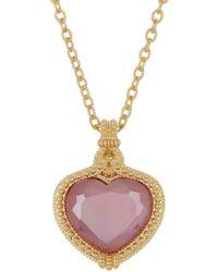 Judith Ripka - 14k Gold Plated Sterling Silver Romance Cz Heart Pendant Necklace - Lyst