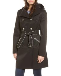 Guess - Hooded Piped Trench Coat - Lyst