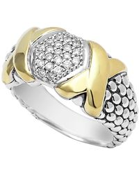 Lagos - 18k Gold & Sterling Silver Diamond Lux Caviar Beaded Diamond Ring - Size 7 - 0.26 Ctw - Lyst