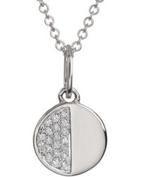Bony Levy - 18k White Gold Pave Diamond Cookie Pendant Necklace - 0.04 Ctw - Lyst
