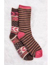 Muk Luks - Cozy Pattern Knit Socks - Pack Of 2 - Lyst